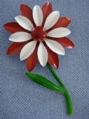 1960s Flower Brooch - Brown and White Daisy - Cold Enamel (SOLD)